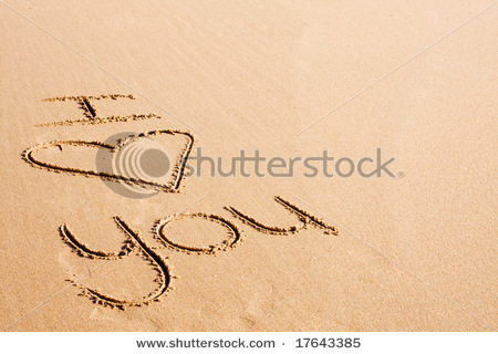 love text written on beach