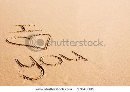 love text written on beach