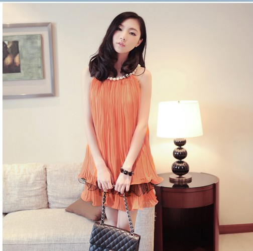 Dress Pesta Chiffon Oranye Orange Jingga kalung mutiara