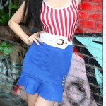 Dress Model Pelaut Bendera Amerika USA Merah Biru Garis Merah Vertikal