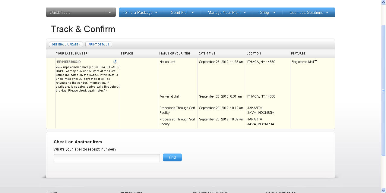 RR015558983ID RLN Pos Indonesia