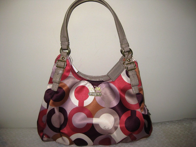 Tas Coach Madison Graphic OP ART Maggie HANDBAG Purse Cherry 1