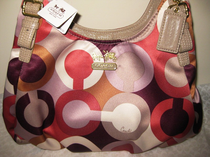 Tas Coach Madison Graphic OP ART Maggie HANDBAG Purse Cherry 3