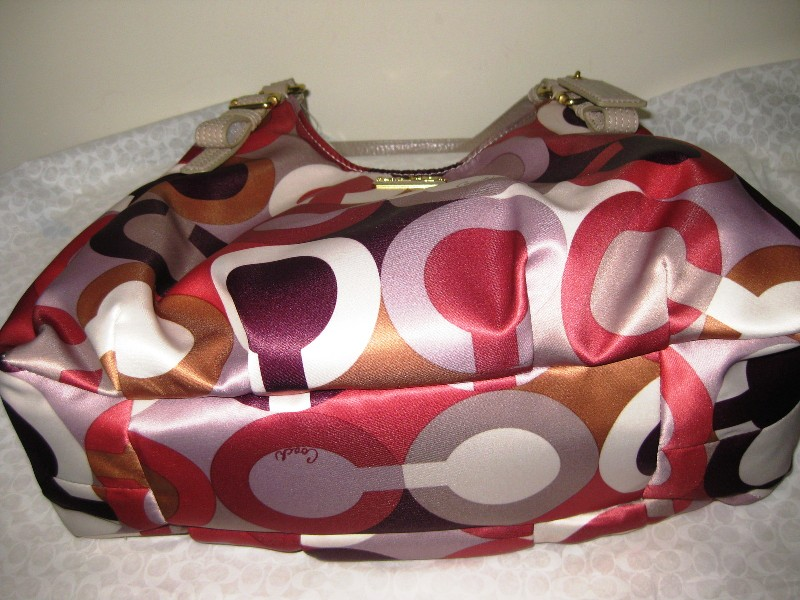 Tas Coach Madison Graphic OP ART Maggie HANDBAG Purse Cherry 4