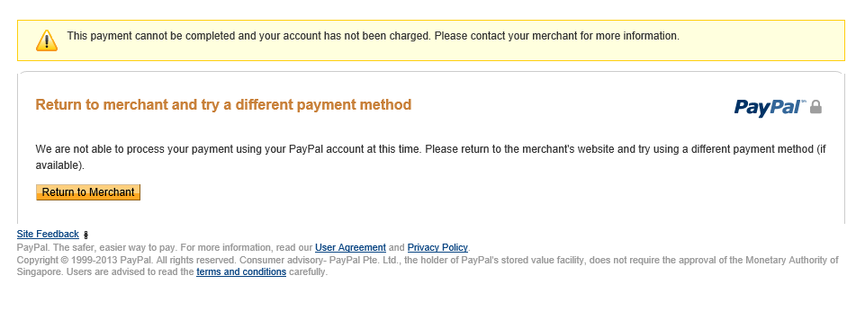 PayPal Error Return to Merchant