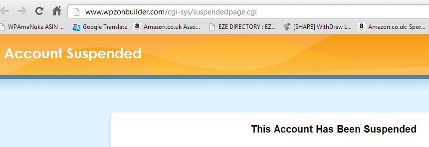 WPZonBuilder Hosting Suspended