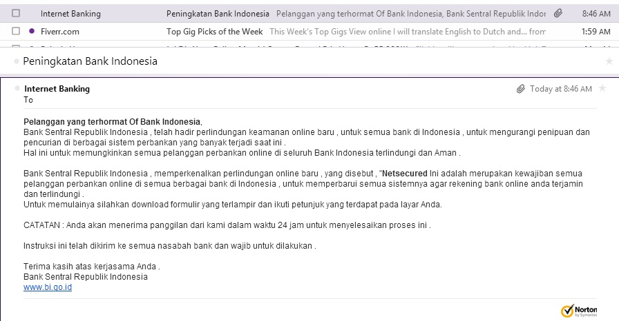 Email Scam Bank Indonesia
