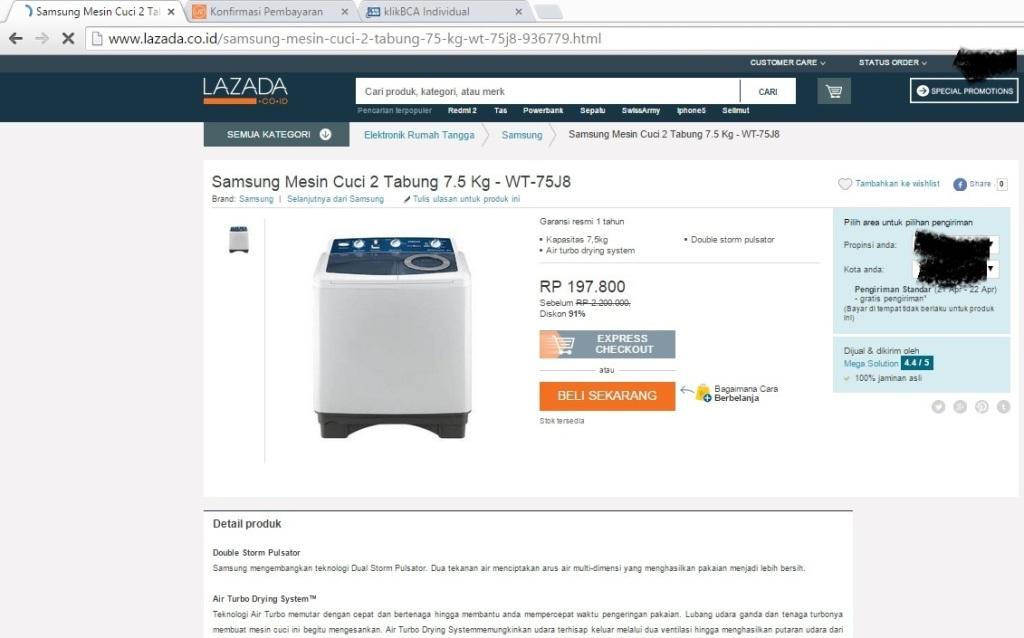 detil produk samsung mesin cuci