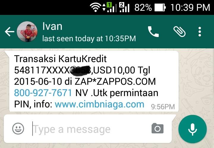 SMS Transaksi Kartu Kredit