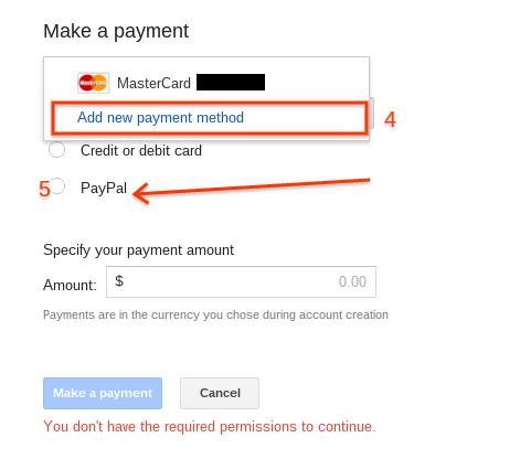 Membayar Biaya Iklan Google Adwords Menggunakan Paypal