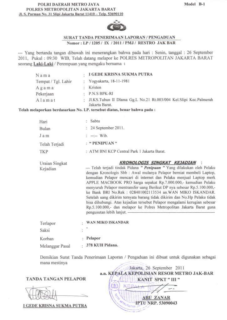 surat laporan penipuan ke polisi