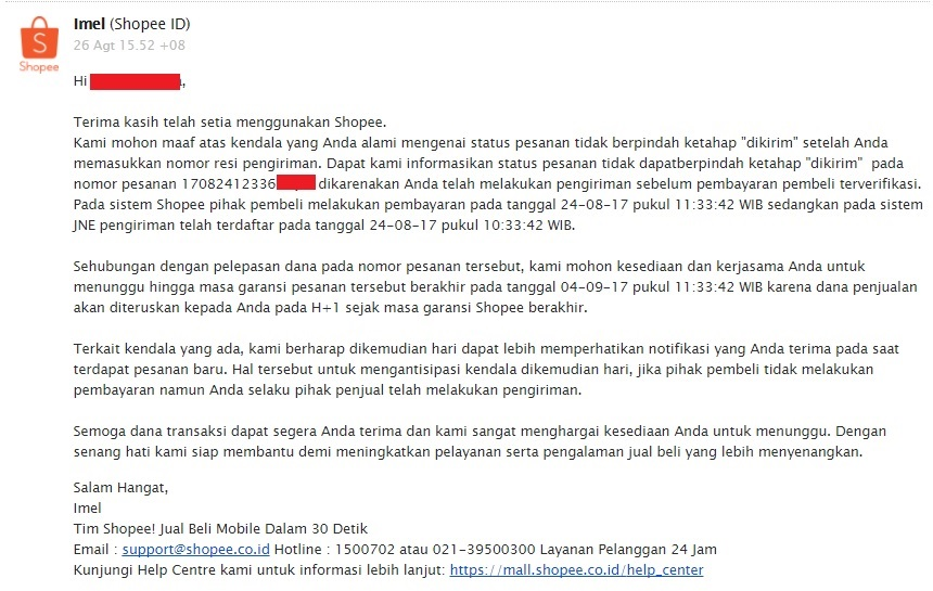 customer service shopee
