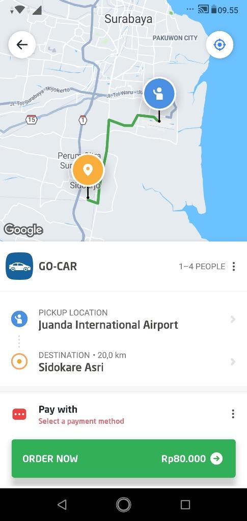 tarif taxi online juanda gocar ke sidoarjo