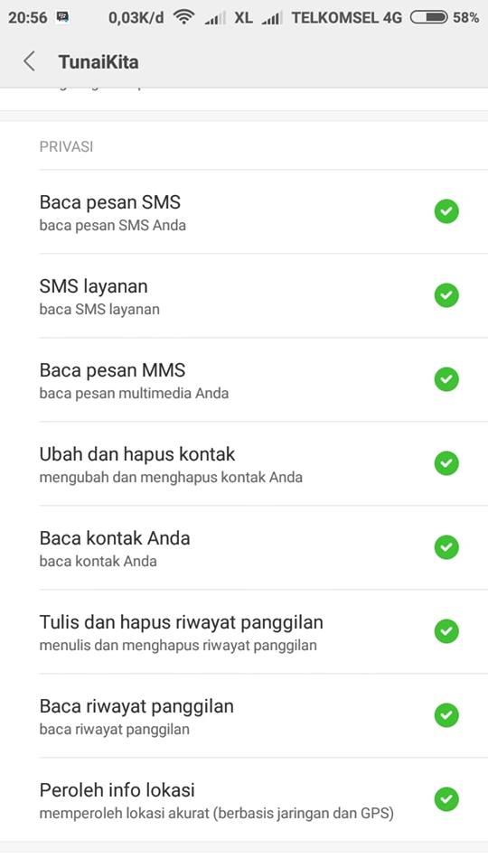 aplikasi pinjaman uang online meminta akses telepon penggunanya