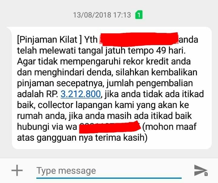 sms tagihan pinjaman online
