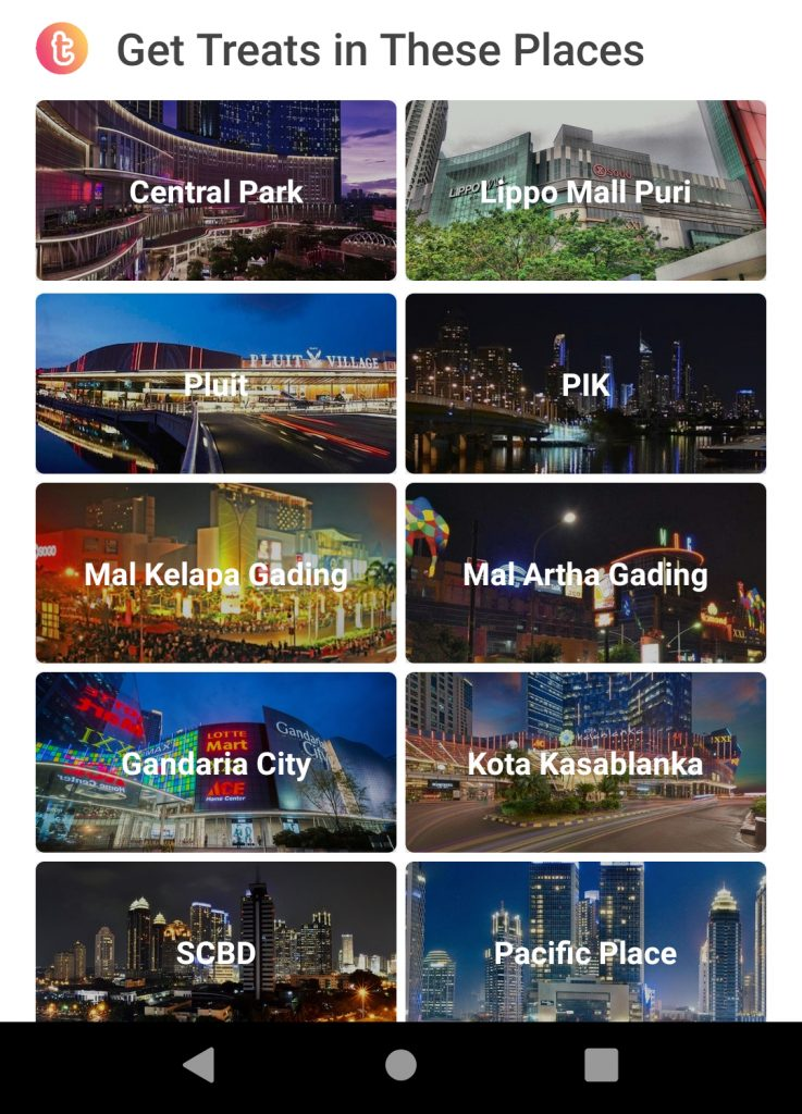 Treats by Traveloka Berdasarkan Lokasi Tertentu, misalnya mall